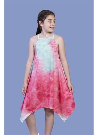 Toontoy Kids Toontoy Kız Çocuk Batik Desenli Asimetrik Elbise Mercan